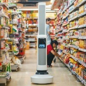 Mobile robot tracks inventory on store shelves