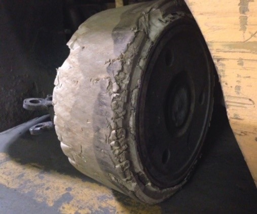 Damaged-forklift-wheel
