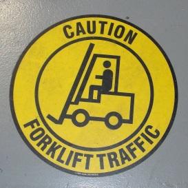 Forklift caution sign