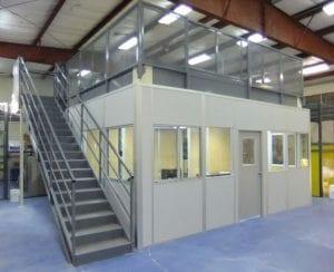 Modular office on mezzanine