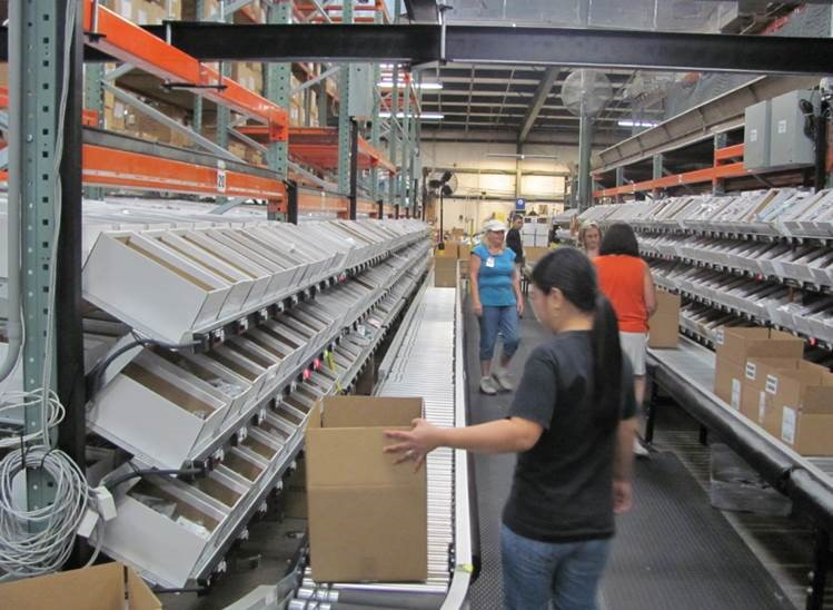 Pick-to-light-order-picker-conveyor
