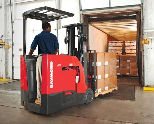 Counterbalanced forklift on dock