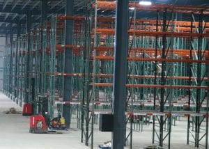 Raymond-lift-trucks-in-Ridgurak-High-Bay-Racking