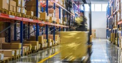 Speeding-forklift-in-warehouse