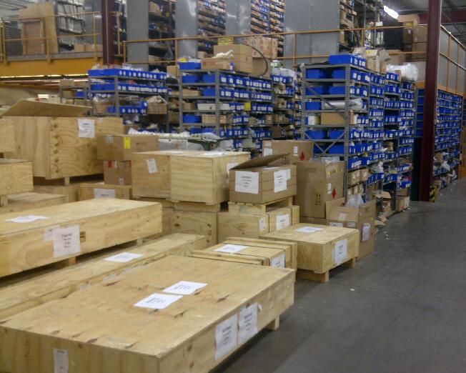 Cases on warehouse floor