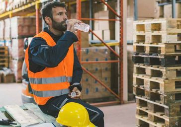 Warehouse worker hydrating