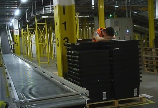 Warehouse worker with heat exhaustion